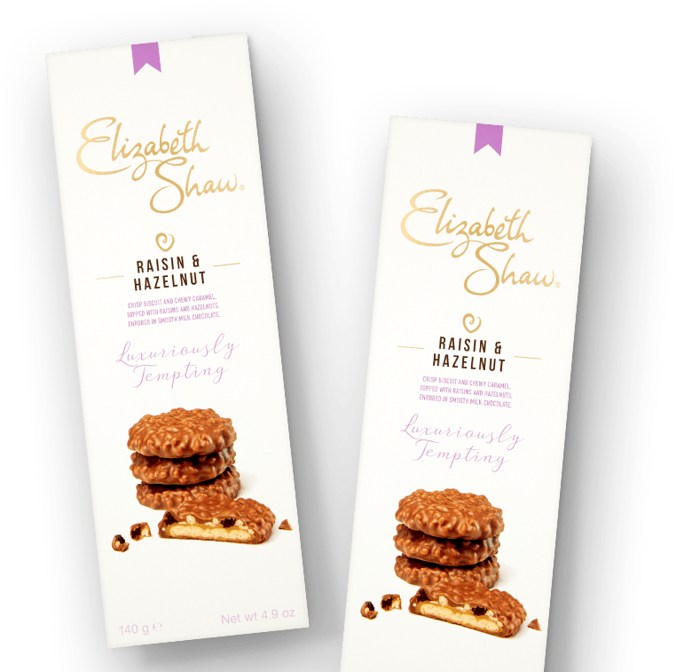 Elizabeth Shaw Raisin and Hazelnut biscuits header pack
